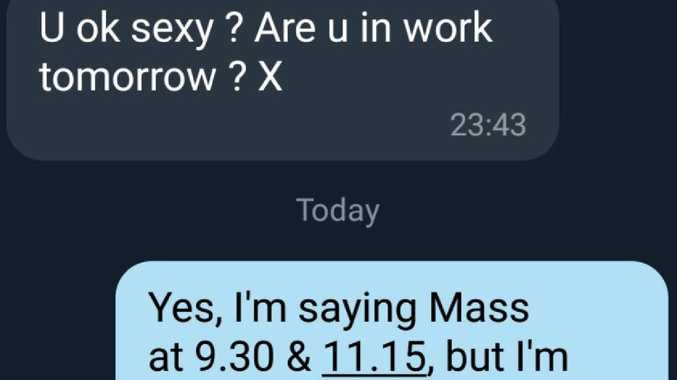 Priest's hilarious response to flirty text. Picture: frsimon/Twitter