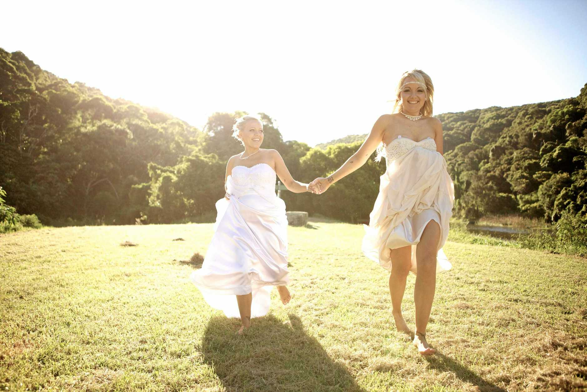 ATTENDING: MKR's Carly and Tresne travelled to New Zealand to marry before the legislation change.