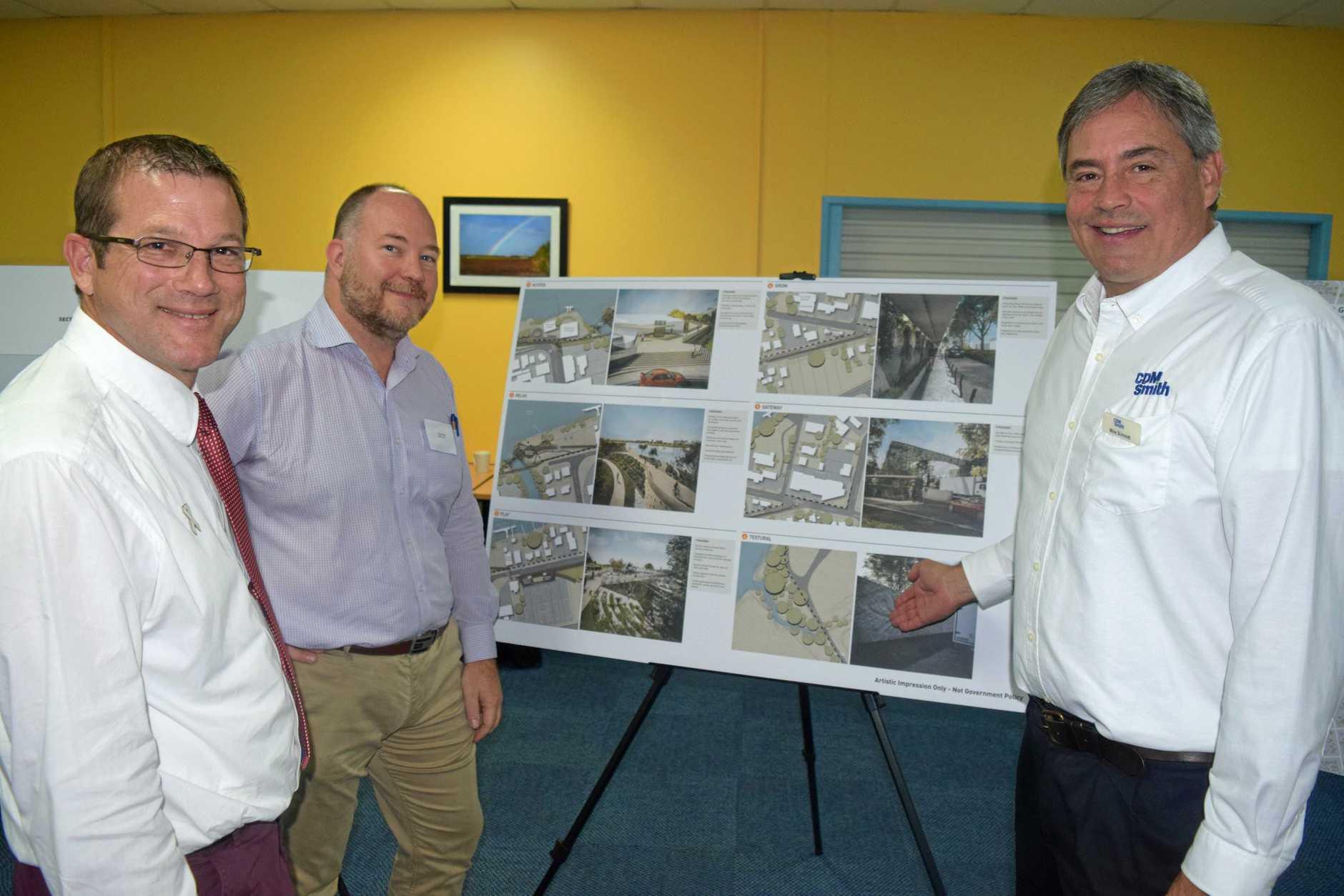 David Batt MP, CDM Smith managing principal Russell Merz and engineer Mike Schmidt.
