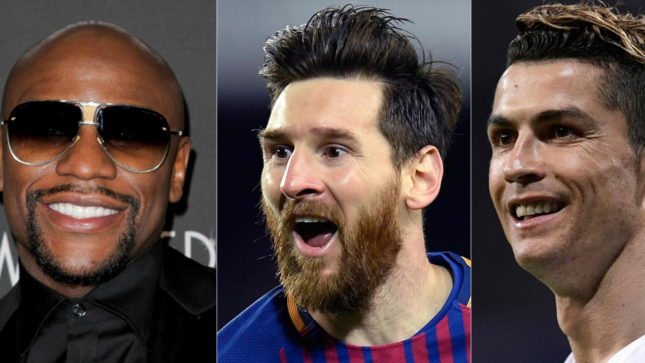 Floyd Mayweather, Lionel Messi and Cristiano Ronaldo topped sports rich list for 2018.