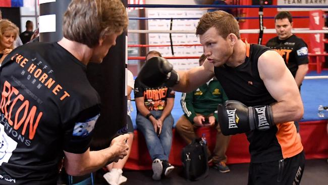 Jeff Horn hits the bag during a training session in Las Vegas.