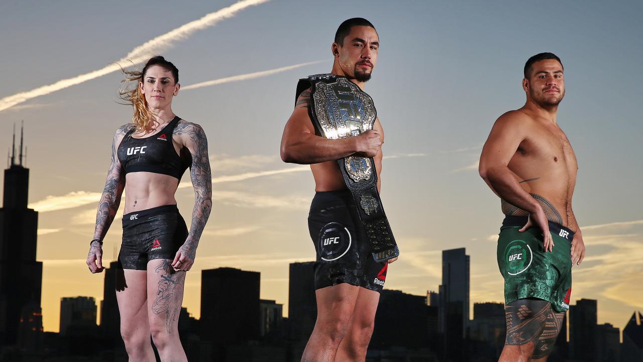 Aussie fighters Megan Anderson, Rob Whittaker, Tai Tuivasa. Picture: Sam Ruttyn