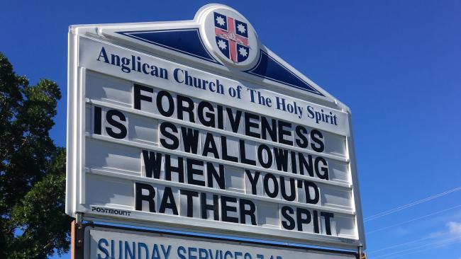 The sign outside the Anglican Church of The Holy Spirit at Surfers Paradise on Tuesday.