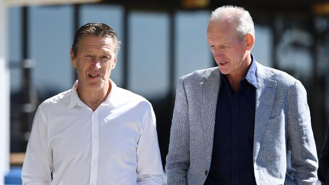 Melbourne Storm coach Craig Bellamy and Brisbane Broncos coach Wayne Bennett arrive at the NRL Sportsman's Lunch in Toowoomba on June 1. Picture: Dan Peled