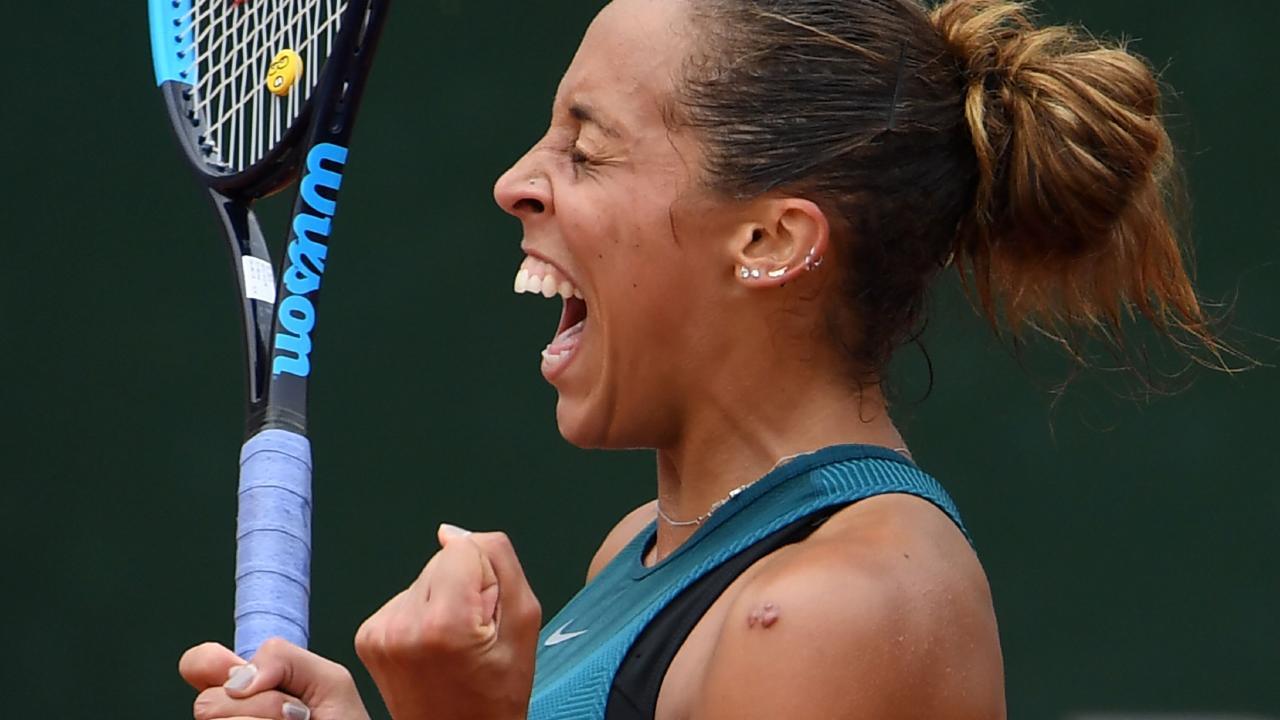 Madison Keys celebrates her win over Yulia Putintseva.