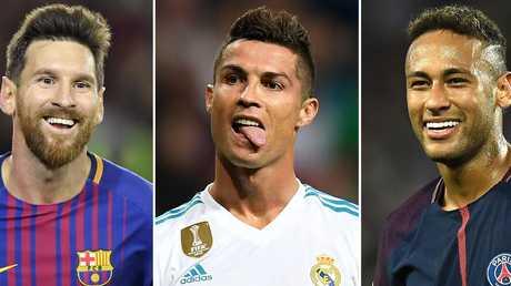 (L-R) Barcelona's Argentinian forward Lionel Messi, Real Madrid's Portuguese forward Cristiano Ronaldo and Paris Saint-Germain's Brazilian striker Neymar.