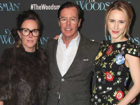 Kate Spade with husband Andy Spade and niece Rachel Brosnahan. Picture: Splash