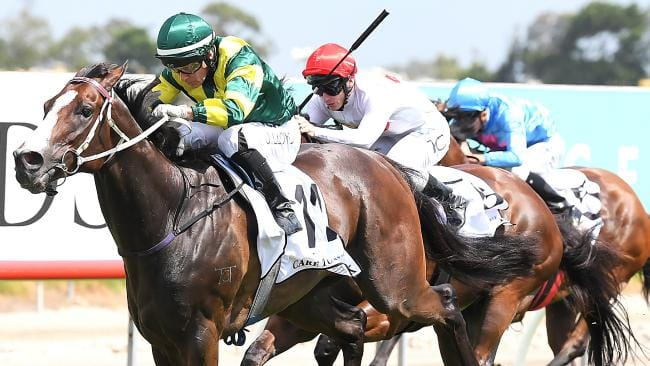 Jockey Jeff Lloyd rides Care To Think to win race 6, the Magic Millions Cup, during the Gold Coast Magic Millions at Aquis Park, Gold Coast Turf Club, Queensland, Saturday, January 13, 2018. (AAP Image/Albert Perez) NO ARCHIVING, EDITORIAL USE ONLY