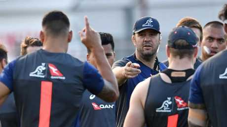 Wallabies coach Michael Cheika during training at Ballymore in Brisbane.