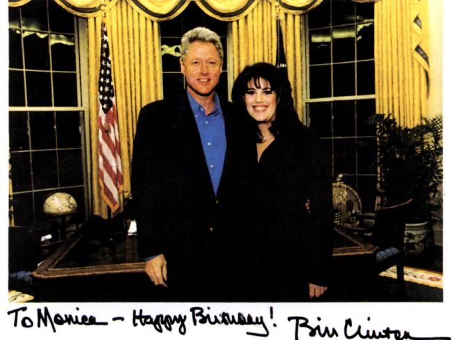 USA politician President Bill Clinton (l) with former White House intern Monica Lewinsky (r) in the Oval office in photograph given by the President to her as a birthday gift in 1997. Picture: Supplied