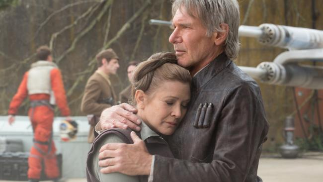 Leia (Carrie Fisher) & Han Solo (Harrison Ford) in Star Wars: The Force Awakens.