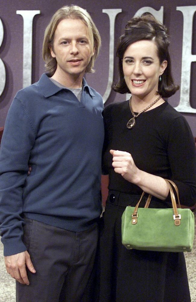 Kate Spade with her equally famous brother-in-law, actor David Spade in 2002. Picture: Capital Pictures.