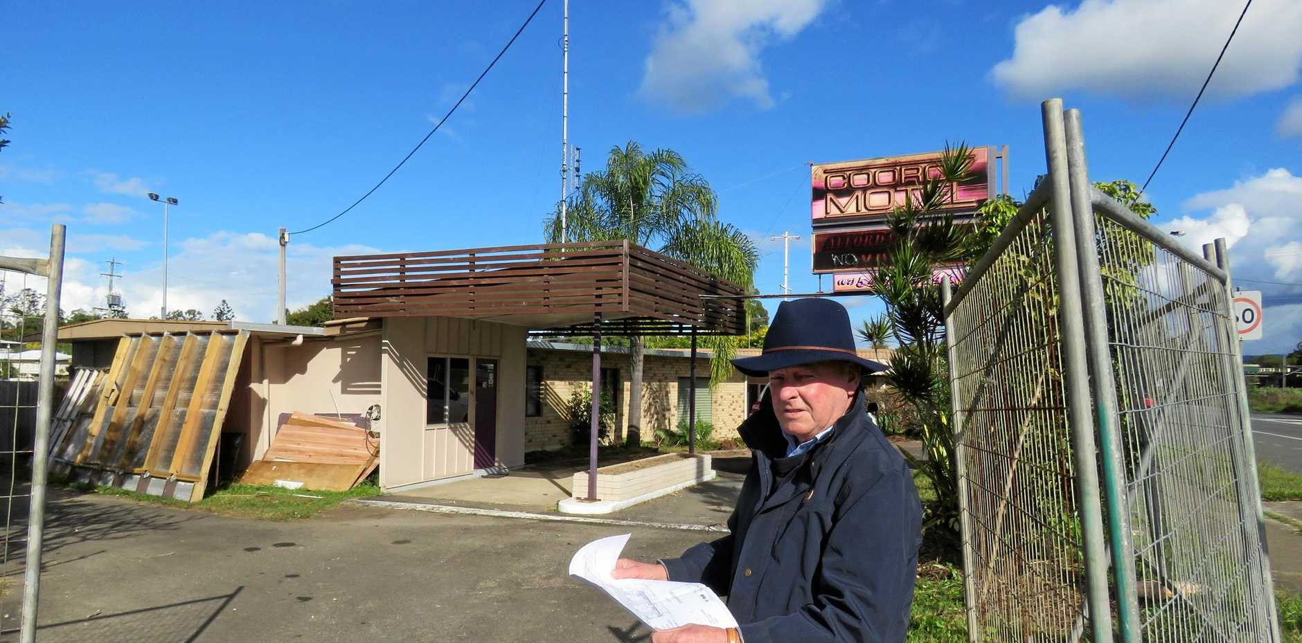 NEW LOOK: Ron McCarthy at the now-derelict Cooroy Motel site on Elm Street, where he is planning to build a shopping and residential precinct.