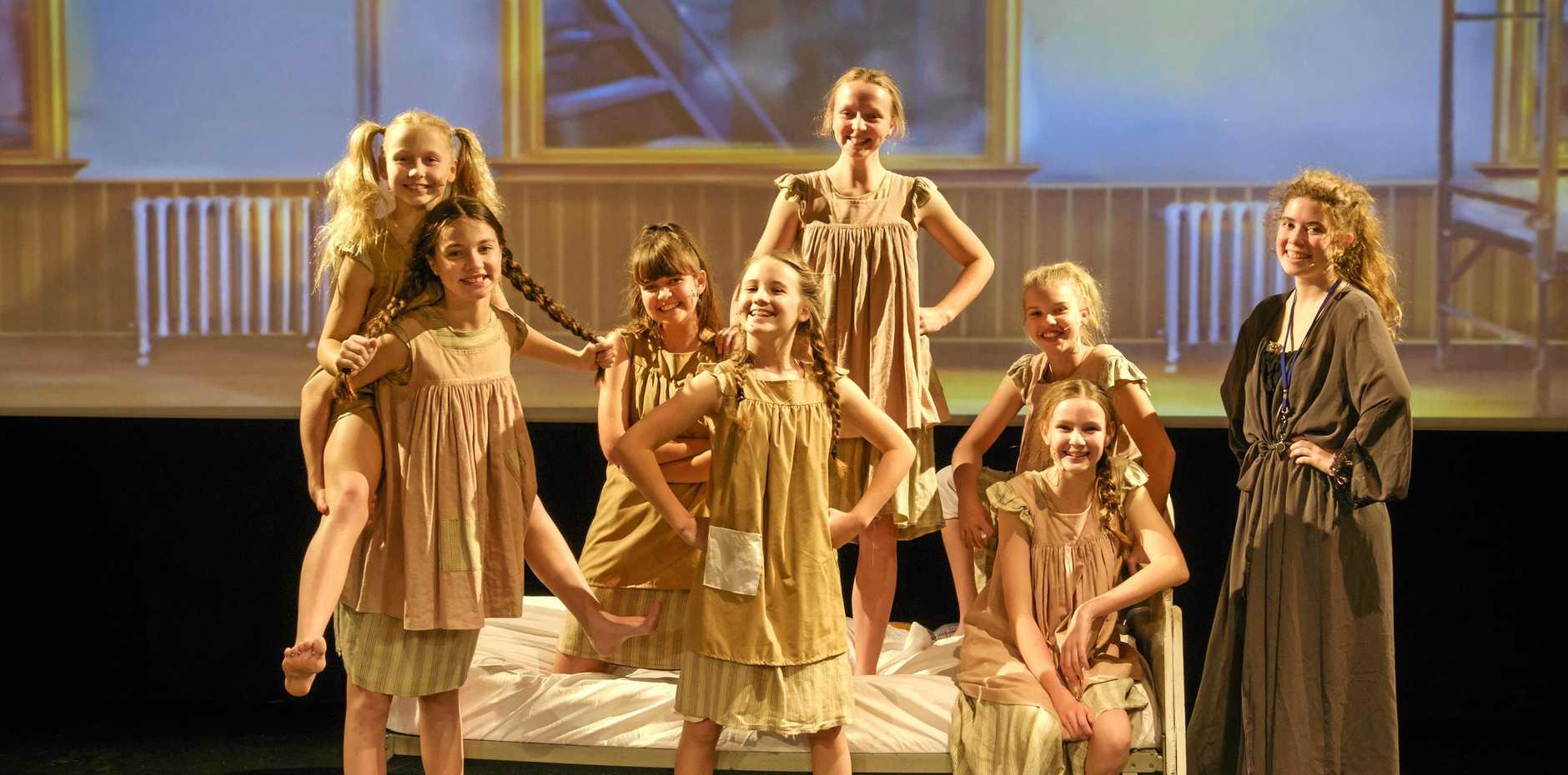HARD KNOCK LIFE: Shalom performers (from left) Lana Munckton, Tamae Marschke, Chelsea Costar, Charlotte Smith, Charlotte Boge, Kasey Hess, Mikayla Condon and Ella Boas.