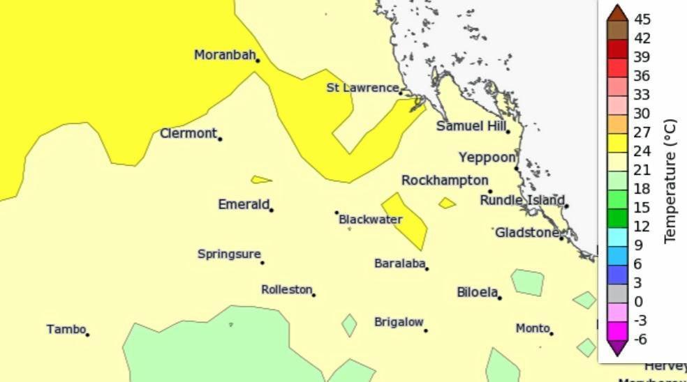 Maximum temperature averages for this month around the Central Queensland area.