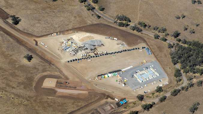 IN THE WORKS: Aerial views over the Coopers Gap Wind Farm construction site.