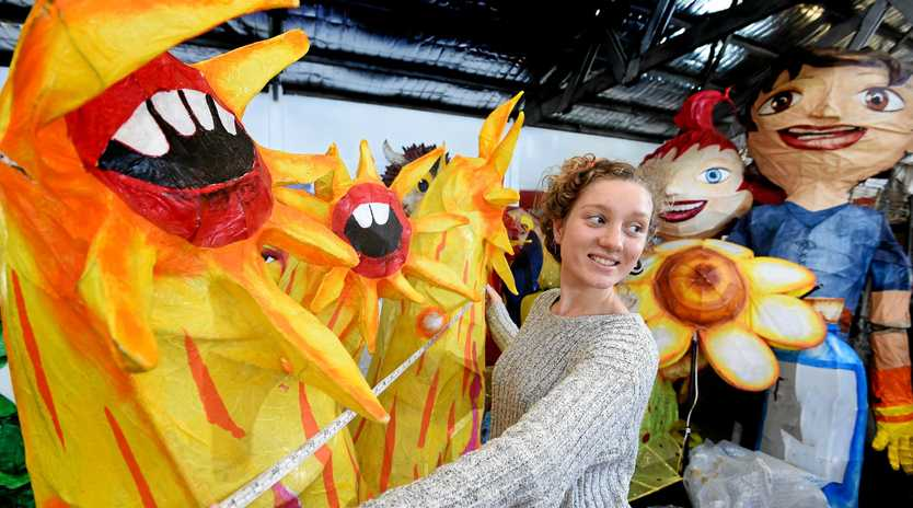Therese Hoare, of Brunswick Heads, volunteers at the Lantern Parade workshop in Lismore.