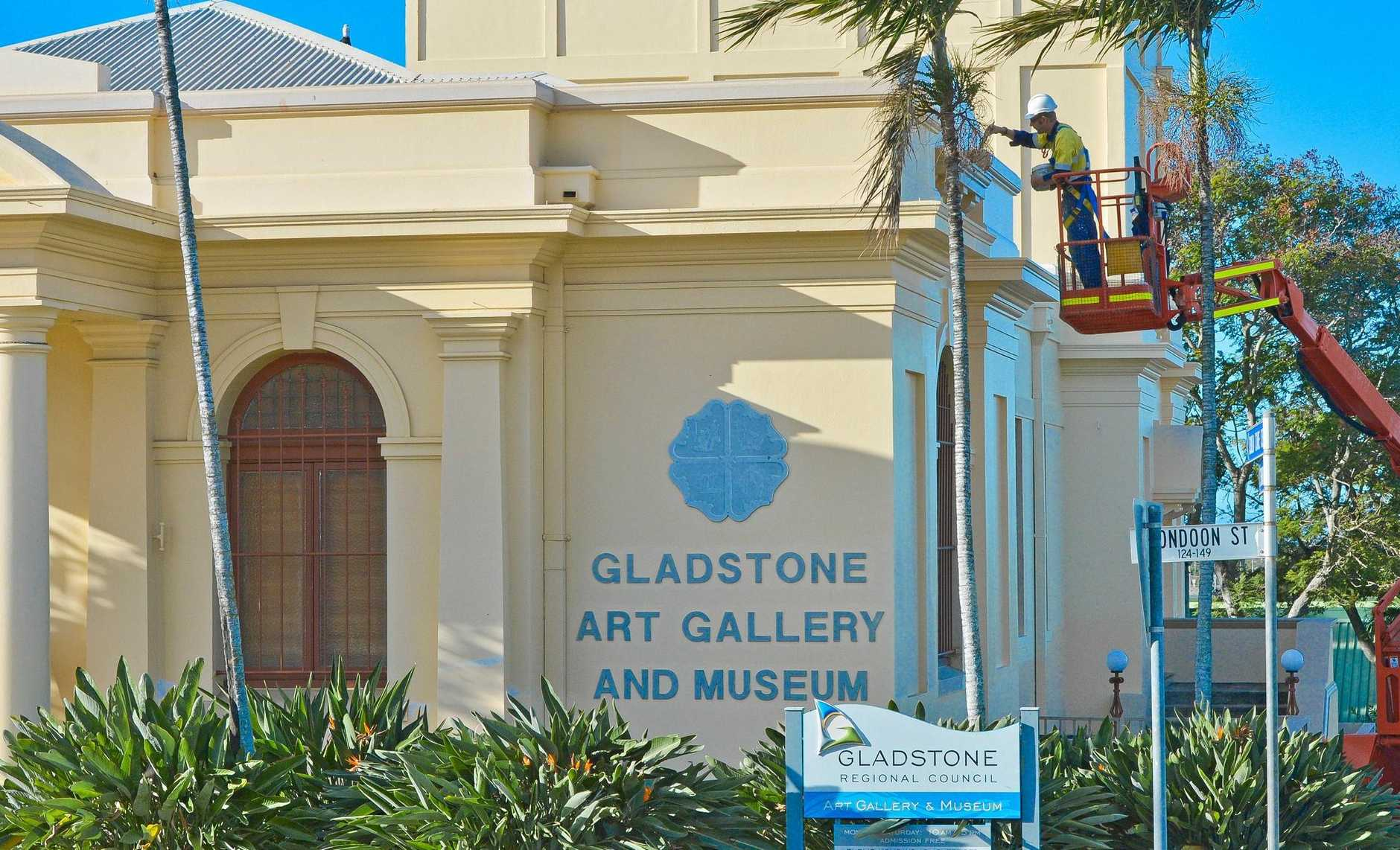 Gladstone Regional Art Gallery Museum is having a face lift. Youngs building contractor Paul Marsman with the brush..