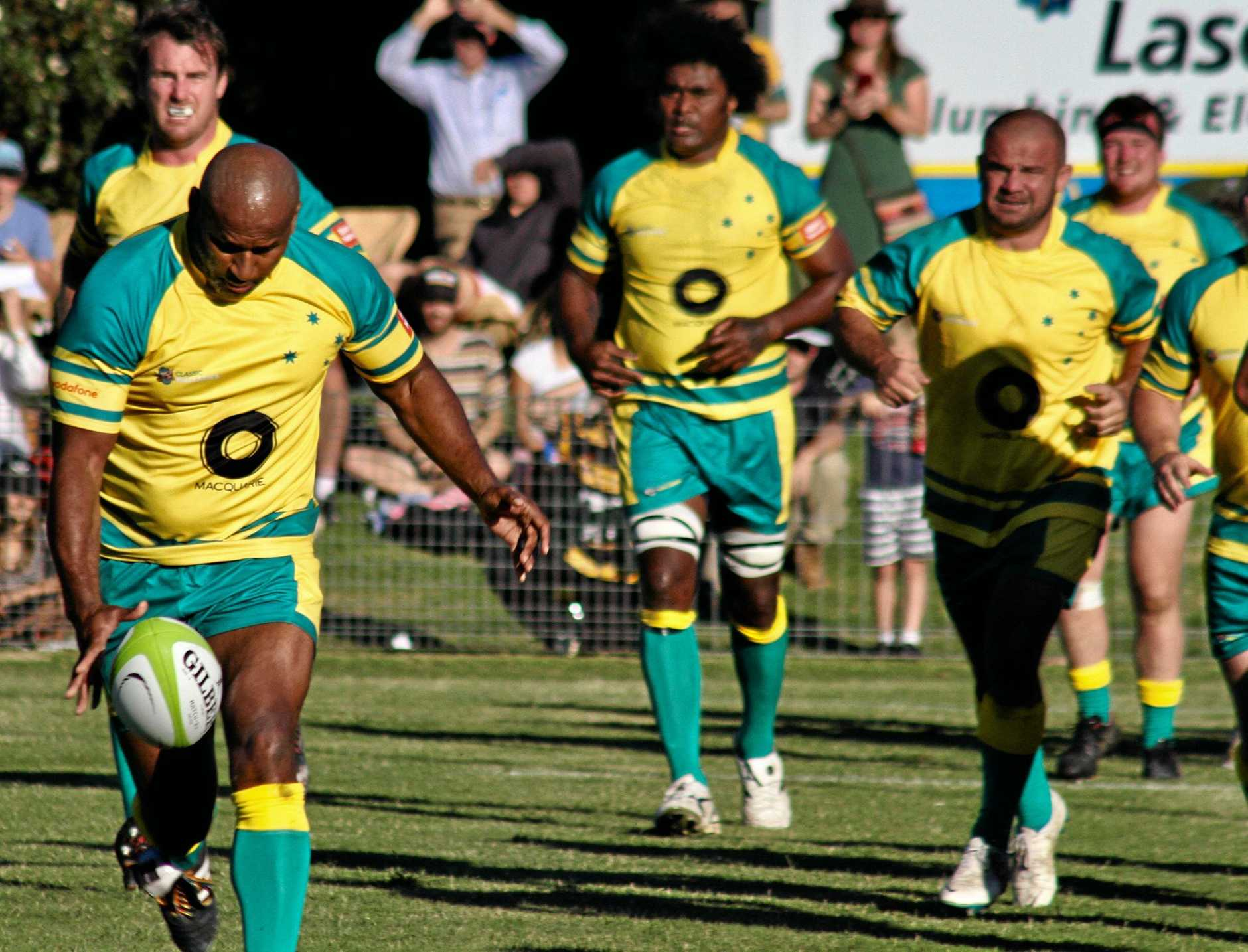 WALLABY GOLD: Lote Tuqiri will be among the former greats heading to Gold Park on Sunday when the Classic Wallabies take on the Darling Downs Barbarians.