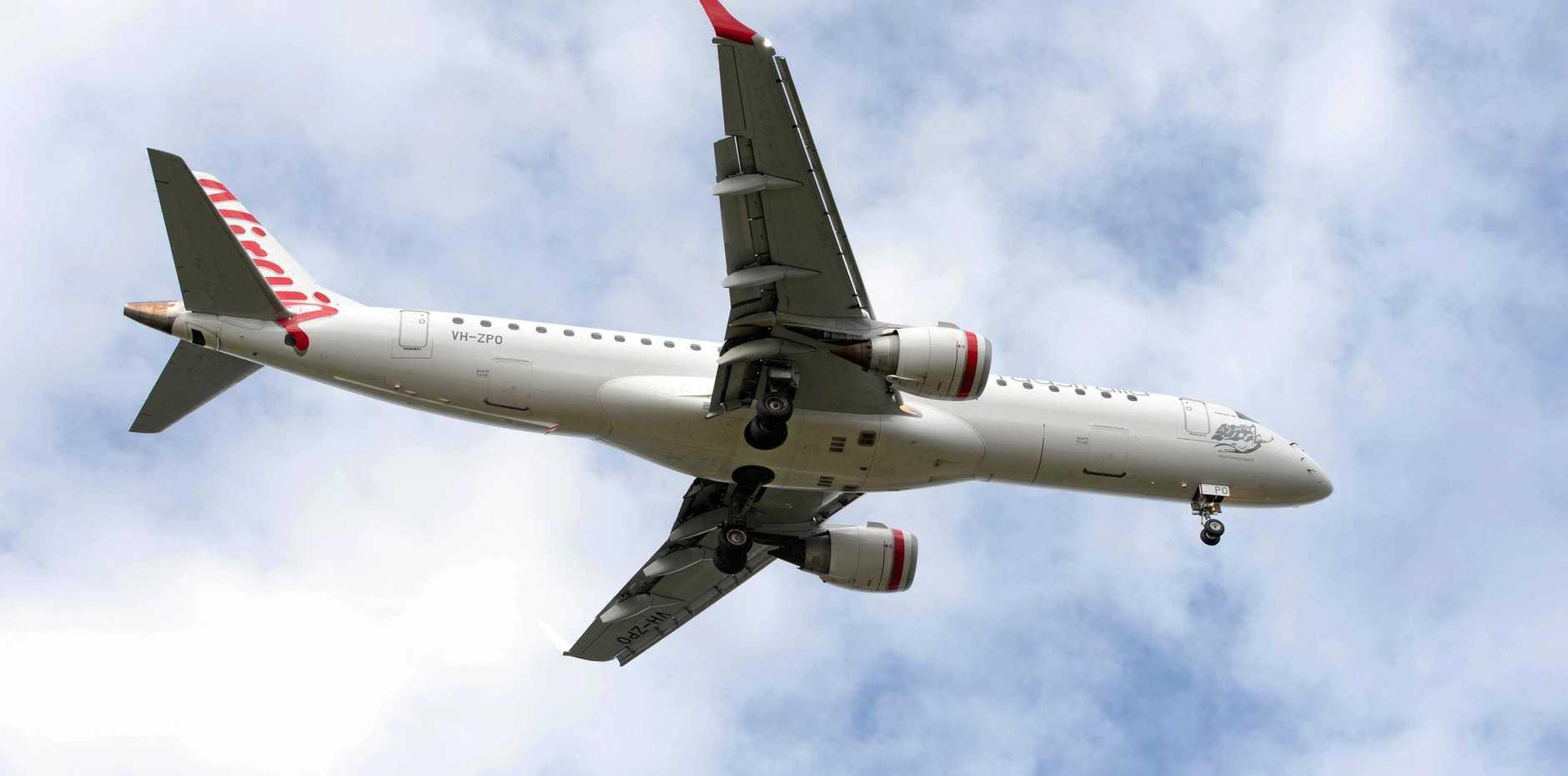 virgin airlines jet Coffs Harbour airport. 08 july  2016.
