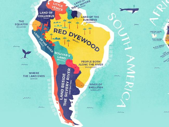 South America's original country names refer to the surroundings and heat of the continent. Picture: Credit Card Compare