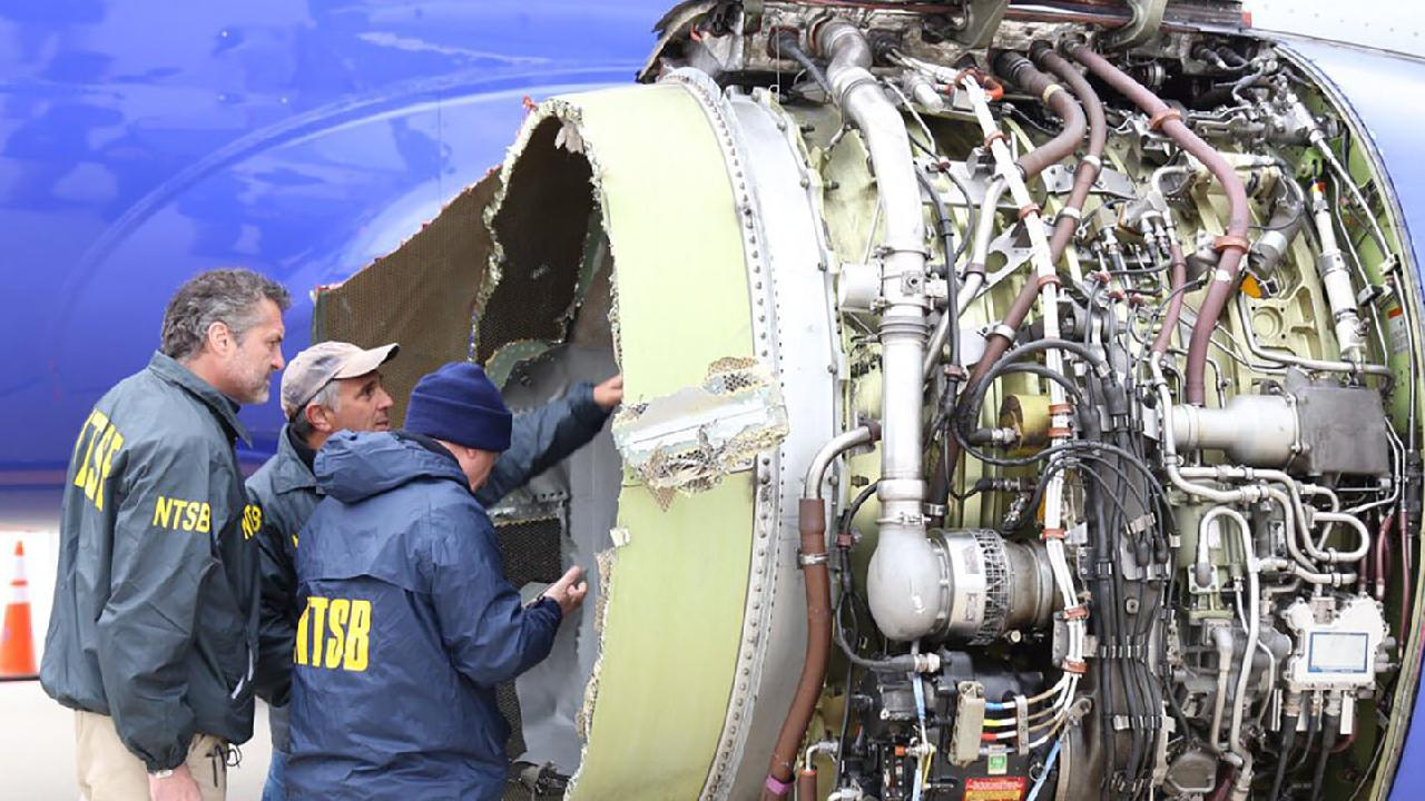 Investigators found the engine of the Southwest Airlines Boeing 737 showed signs of 'metal fatigue'. Picture: AFP