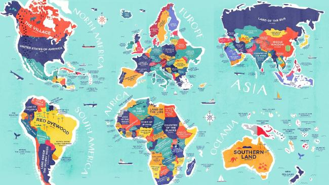 The new maps reveal where modern-day country names cames from. Picture: Credit Card Compare