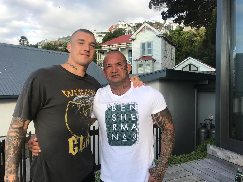 Dustin Martin with his father Shane Martin in Auckland at Christmas.