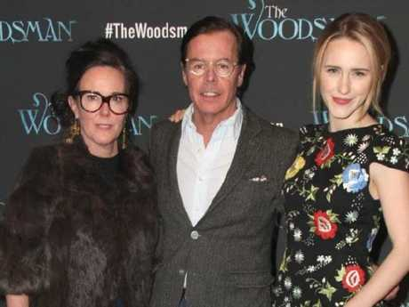 Kate Spade with her husband Andy Spade and her niece, actress Rachel Brosnahan. Picture: Supplied