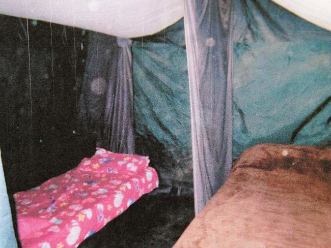 Inside a filthy tent on the family farm hidden in the hills behind Boorowa in NSW.