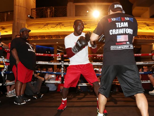 Terence Crawford trains in Las Vegas. Pic Peter Wallis
