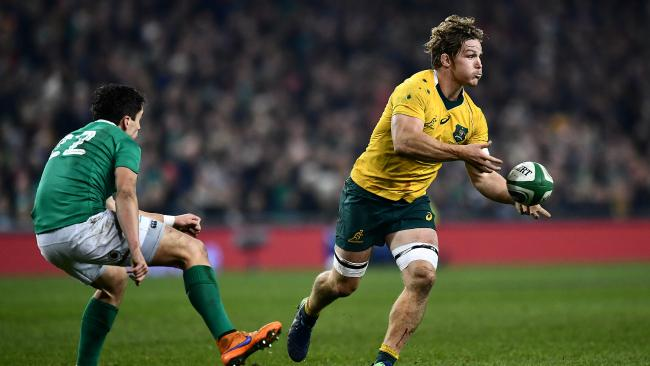 Michael Hooper gets Ireland's starting five-eighth Joey Carbery on skates in 2016.