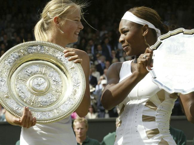 Maria Sharapova and Serena Williams on better terms at Wimbledon in 2004.