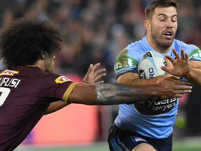 James Tedesco found plenty of space through the middle of the ruck.