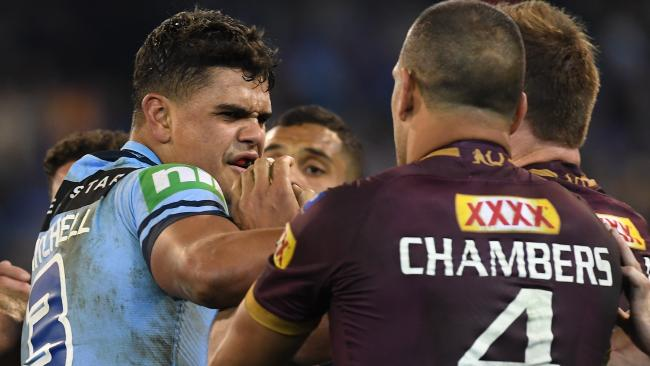Lattrell Mitchell and Will Chambers exchange pleasantries during the Origin series. (AAP Image/Julian Smith)