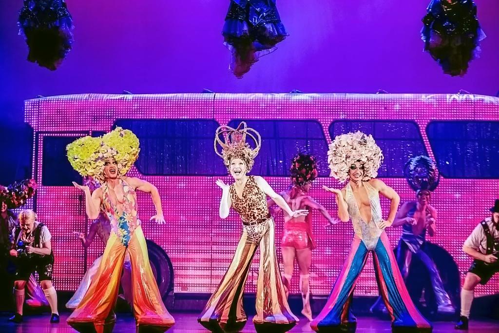 COLOURFUL CREW: David Harris, Tony Sheldon and Euan Doidge in a scene from Priscilla Queen of The Desert The Musical.