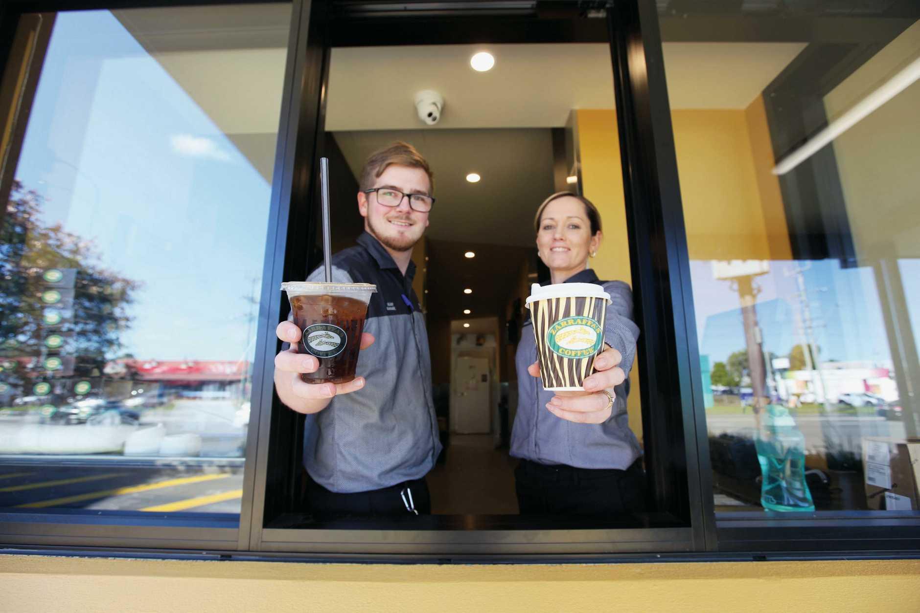 Zarraffa's Coffee South Tweed team members Glenn Wornes and Shandice Densley.