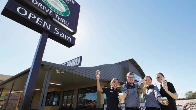 DRIVE-THRU COFFEE: Zarraffa's Coffee South Tweed team members at the new Tweed City store.