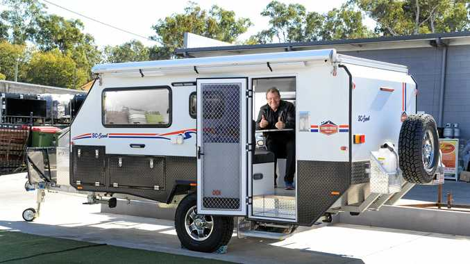 LIVE IT UP: Keen traveller Ashleigh Mac in his new caravan.
