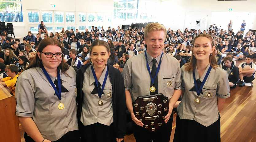 The Bundaberg State High School team. From left is Rachel Christensen, Tiarn Johannesen, Indy Burt and Alice Darlison.