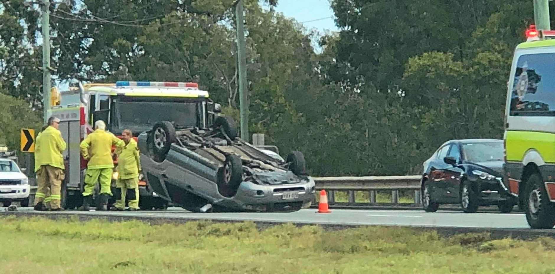 A man escaped serious injury despite being involved in this single vehicle rollover on the Warrego Highway on Friday, June 8.