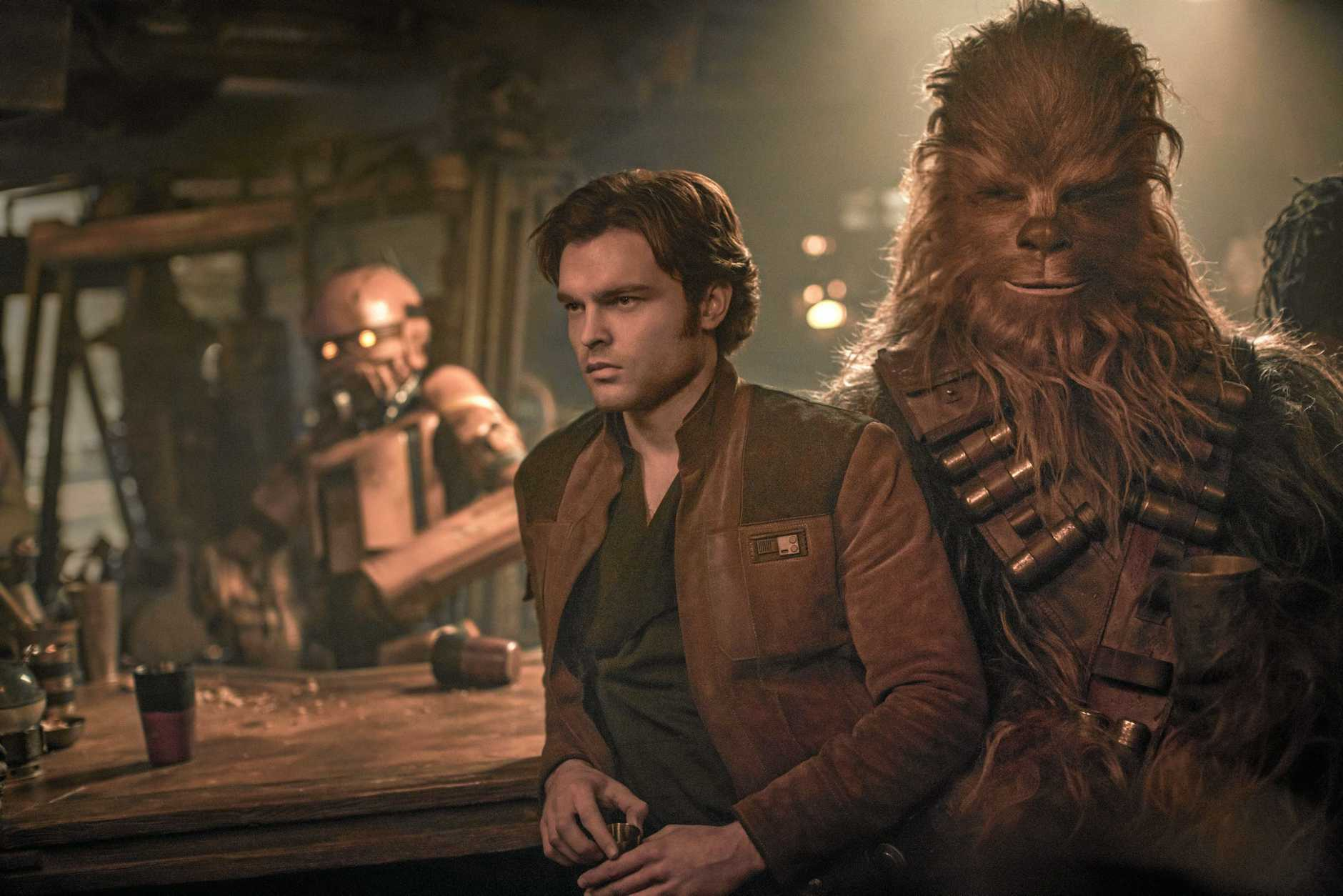 CLASSIC CHARACTERS: Alden Ehrenreich and Joonas Suotamo fill the roles of Han Solo and Chewbacca in a scene from the movie Solo: a Star Wars Story.