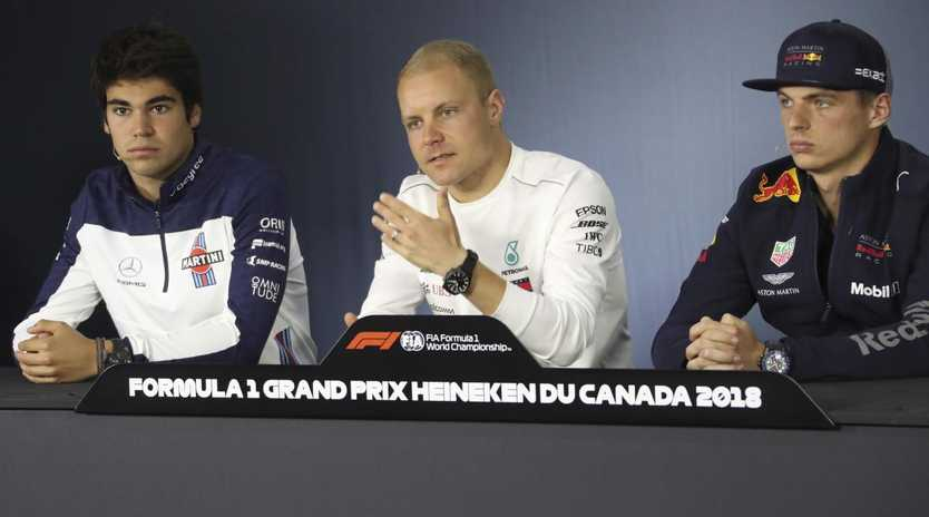 Max Verstappen with Valtteri Bottas and Lance Stroll ahead of the Canadian Grand Prix.