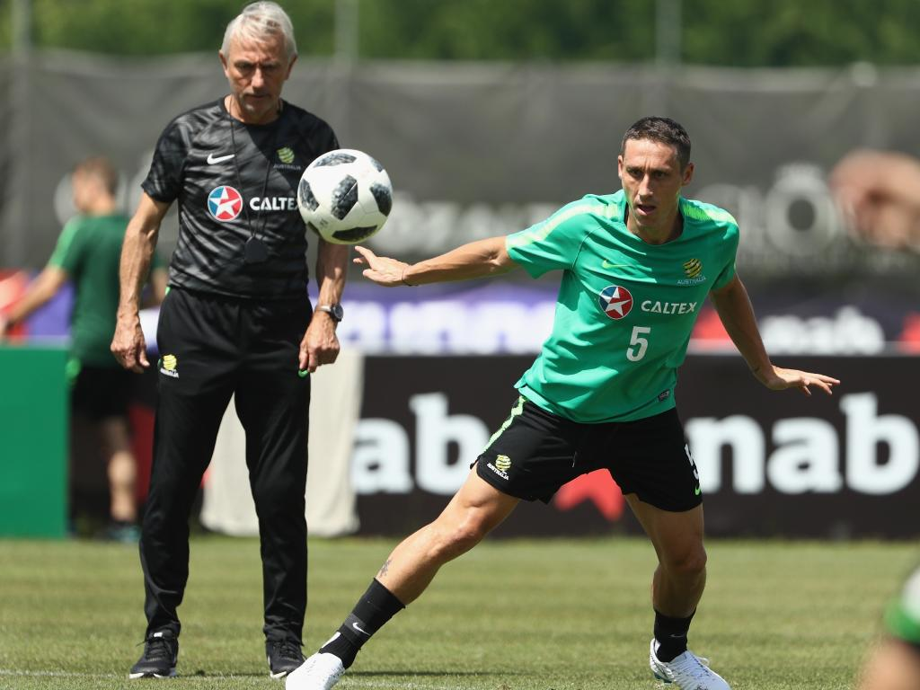 Mark Milligan trains under Bert van Marwijk's watchful eye. Picture: Getty Images