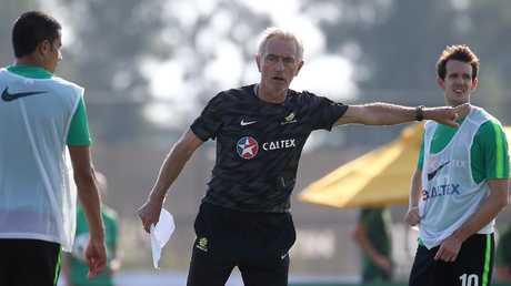 Bert van Marwijk takes a Socceroos training session.