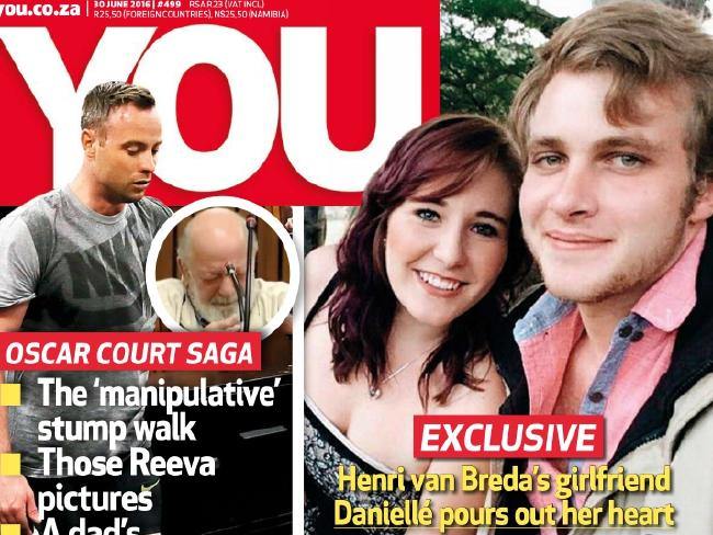South Africa's You magazine showing family axe killer Henri van Breda and his girlfriend Danielle Janse van Rensburg. Picture:  You