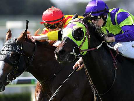 Heavenly Thought (right) takes out the Grand Prix Stakes in May. Picture: AAP