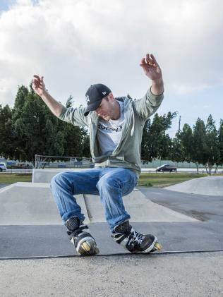 Inline skater Aaron Farmer is petitioning for a local skate park. IMAGE: AAP/Richard Walker