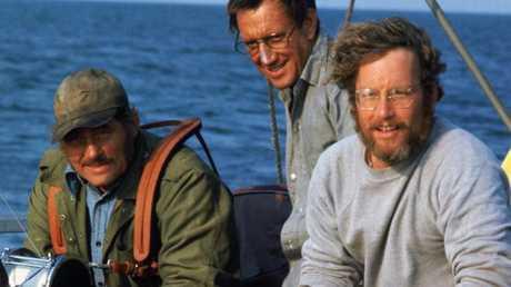 Robert Shaw, Roy Scheider and Richard Dreyfuss in Jaws.