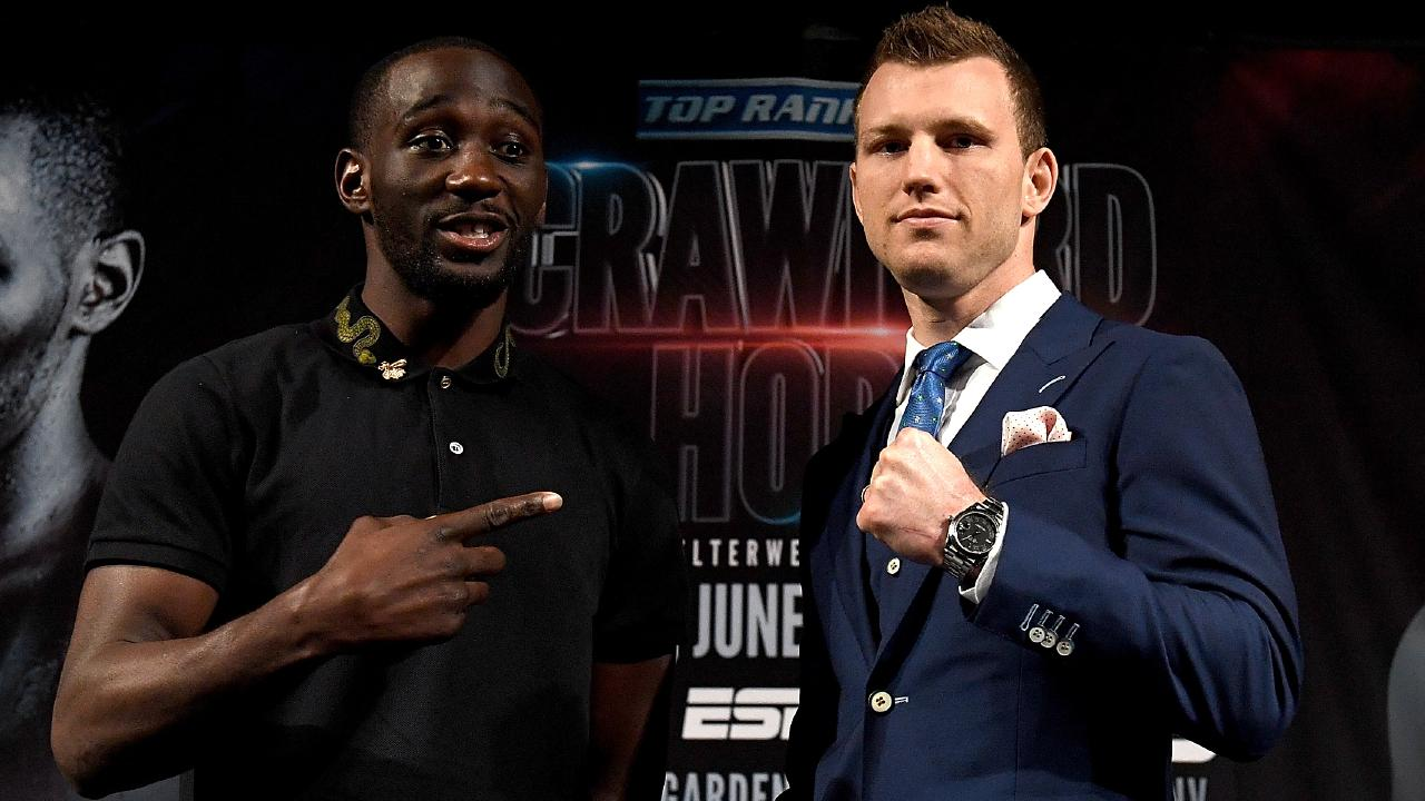 Jeff Horn and Terence Crawford at the official media conference ahead of their world title bout.